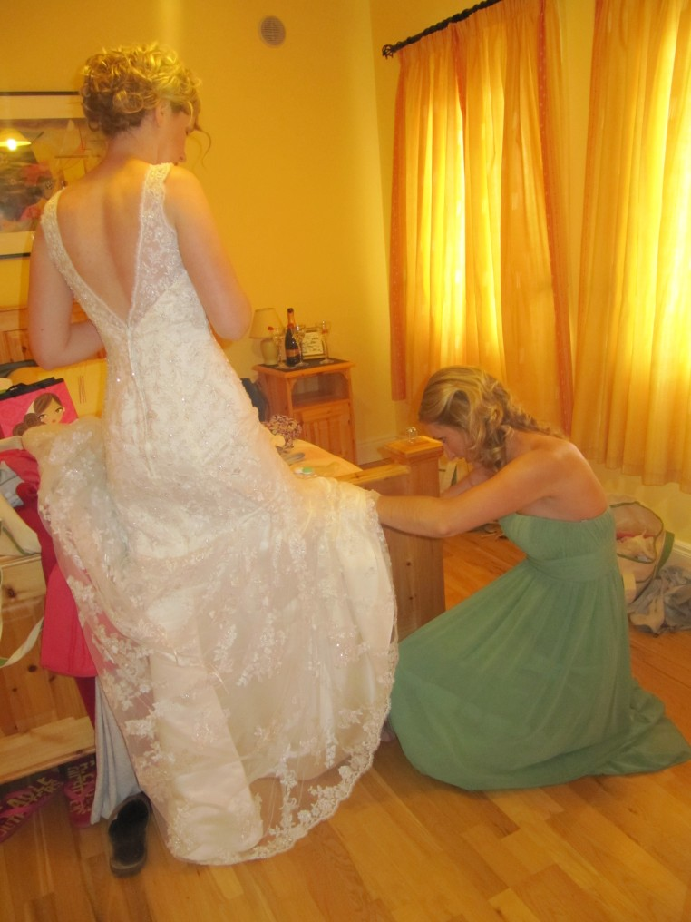 Putting the garter on